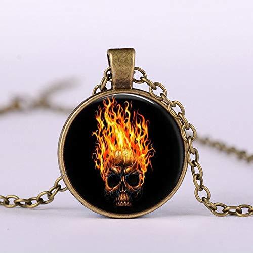 Brennen Für Jungen Kostüm - DADATU Halsketten für Herren Death Knight Halskette Brennen Deflamme Schädel Geist Bild Glas Cabochon Halsketten Anhänger Hip Hop Schmuck