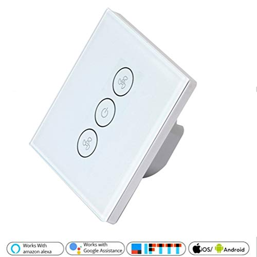 Smart Fan Light Switch, Wireless WiFi Ventilatore a soffitto Interruttore  per lampada Voice/Remote/Touch Control Compatibile con Alexa Google con