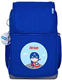 UniQBees Personalised School Bag With Name (Active Kids Medium School Backpack-Blue-Captain)