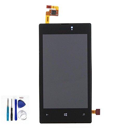 Nokia Microsoft Lumia 520 LCD Display Schermo Vetro Digitizer Touch Screen Assemblato include Frame di Ricambio e Gratis Kit (Nero)