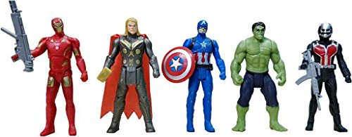 World of Needs The Team Avengers Set of Five Action Figures (Multicolor)