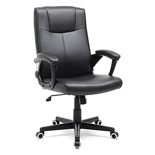 SONGMICS Bürostuhl aus PU, verschließfest, höhenverstellbarer Drehstuhl mit ergonomischem Design, schwarz, OBG32B