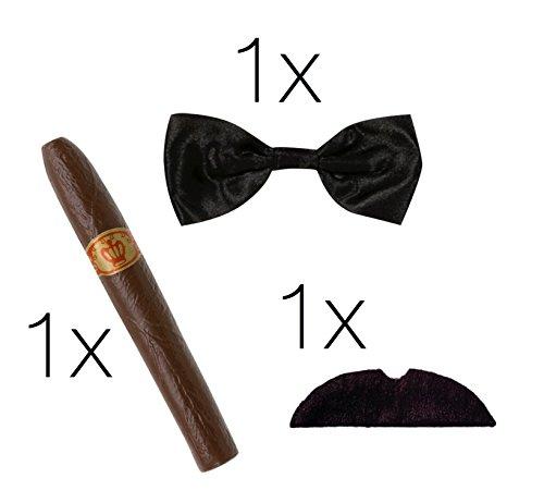 TK Gruppe Timo Klingler Faschingskostüm Verkleidung Set Mafia Gangster Charleston 1920 Jahre mit Zigarre, Fliege und Schnurrbart schwarz für Herren und Damen an Fasching und Karneval