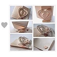 21sandwhick Cutting Dies, Love Heart Cutting Dies DIY Scrapbook Emboss Paper Cards Album Craft Stencil Silver