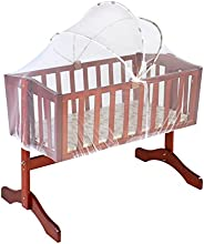 LuvLap Baby Wooden Cot C-10 with Swing & Mosquito Net (Cherry Red) Without Matt