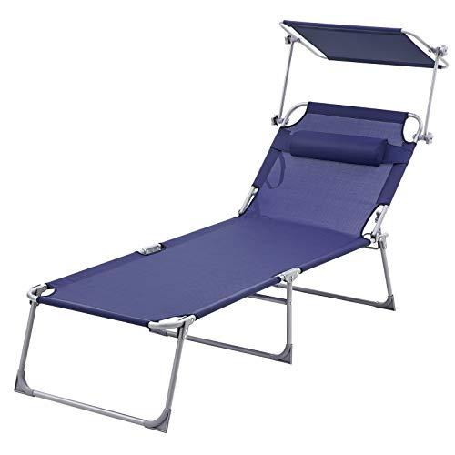 SONGMICS Sonnenliege, extra groß 210 X 73 X 35 cm, Verstellbarer Liegestuhl, klappbar, aus pulverbeschichtetem Stahlrohr, rostbeständig, Kopfkissen und Sonnendach, bis 250 kg belastbar GCB22BU