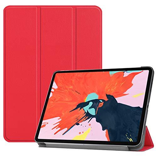 Fonrest Faltbar Stand Leder Hülle für iPad Pro 12,9-Zoll Display 2018, PU Ultra Slim Fit Schutz Auto Schlaf/Wach Magnetisch Flip Tablette Fall (Rot)