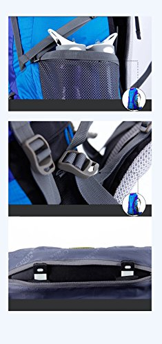 YAAGLE Professional Bergsteigen Taschen outdoor groß Fassungsvermögen Rucksack Reisetasche 60+5 L Nylon Reisegepäck-blau gelb