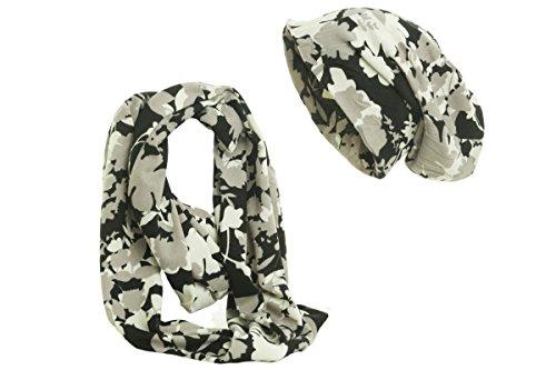 Shenky - Ensemble bonnet et écharpe - style classique Fleurs/camouflage