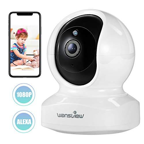 Caméra IP, Wansview 1080P Caméra de Surveillance WiFi Intérieur avec Détection de Mouvement, Audio Bidirectionnel et Vision Nocturne pour Surveillance de Animal de Compagnie/ Bébé - Q5 Blanche