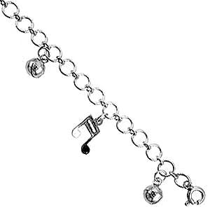 Revoni - Bracelet Charm Femme - Argent massif - Bracelet avec avec notes de musique pendantes et balles
