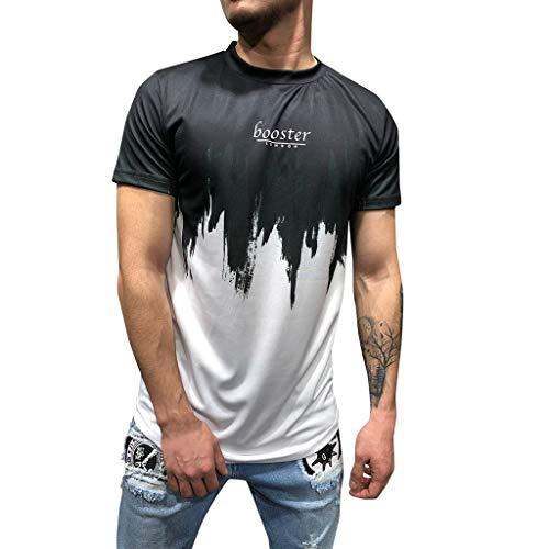 UINGKID Herren T-Shirt, Kurzarm Top Shirt Schlafanzugoberteil Sommer Brief drucken Slim Fit Rundhals Shirt Bluse