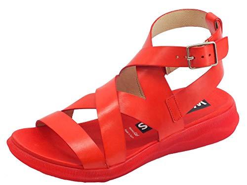 Wonders pergamena sandali per donna in pelle rossa zeppa bassa (taglia 36)