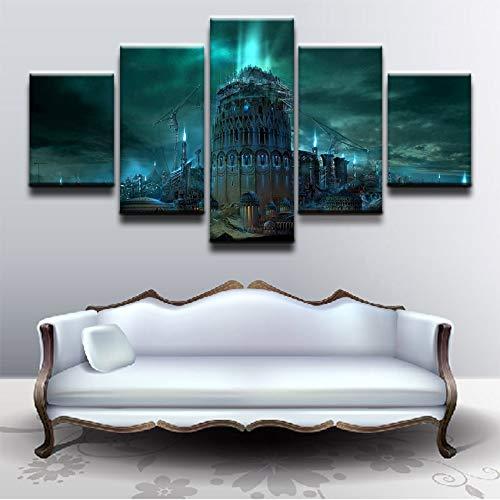 lsweia 5 Panel Apokalyptische Sci Fi Gebäude Stadt Bild Moderne HD Poster Leinwand Malerei Auf Wohnkultur Wohnzimmer Wand Kunstdruck (Der Halloween-alexander Große)