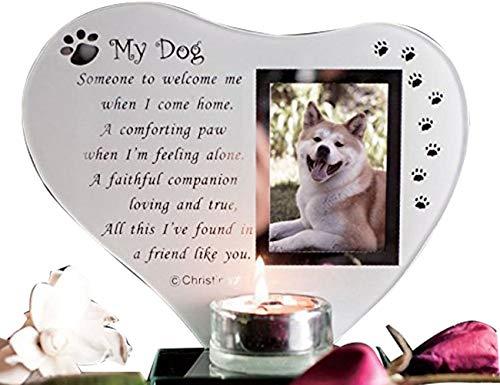 Spezial Hund Glas Gedenktafel Grave Ornament mit Gedicht Kerze Foto Halter für Remembrance