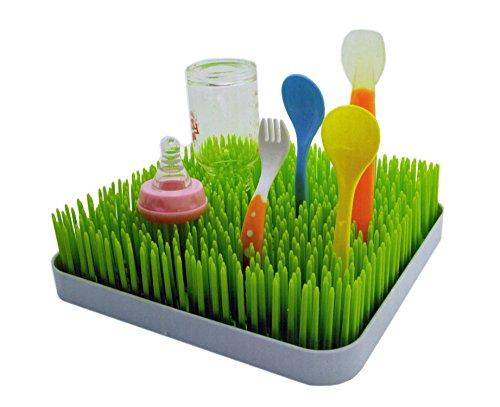 24 x 24cm Abtropfgestell für hygienisches Trocknen von Babygeschirr und Schnullern grüner Rasen