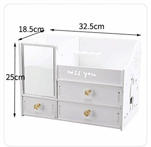 Jiaa Desktop-Aufbewahrungsbox PVC-Holz-Verbundplatte Multifunktions-Rack,Weiß,Einheitsgröße