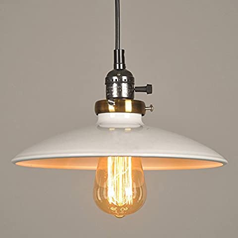 Industrial Style Pendant Light With UFO Iron Saucer Shade Post-modern Iron Art Lamps White E27 Chain: 39.37 inch (100