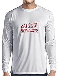 Camiseta de Manga Larga para Hombre La Historia y la Evolución del Voleibol: Ropa de Interior/al Aire Libre, Ropa de…