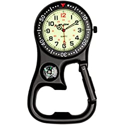 uWANTit Black Luminous Clip-on Carabiner Fob Watch with Compass for Doctors Nurses Paramedics Chefs