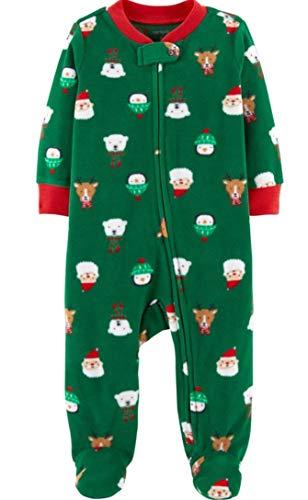 Carters Eisbär (Carter's Schlafanzug Fleece 98/104 Einteiler Junge Boy warm Weich Winter Reißverschluss US Size 4 t (98/104, grün/Eisbär))