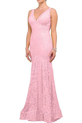 Charmant Damen Langes Kleider Aus Spitze Abendkleider Festliche Kleider Cocktailkleider Elegant Etuikleider Rosa