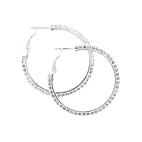 Claire's Girl's 40mm Crystal Lined Silver Hoop Earrings