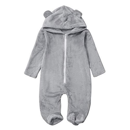 Livoral Kinder Wintermantel Jacke Junge Warme Jacke des neugeborenen Baby-Mädchenwinter-Vlies-Overall-Overalls mit Kapuze(Grau,18-24 Monate)