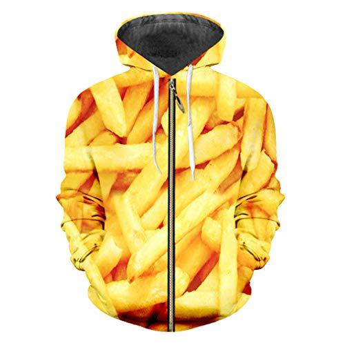 cilily Zipper Hoodies Männer Langarm 3D Jacke Printed Pommes Frites Chip Streetwear Kleidung Männlich Hoodie Sweatshirt French Fries Chips S -