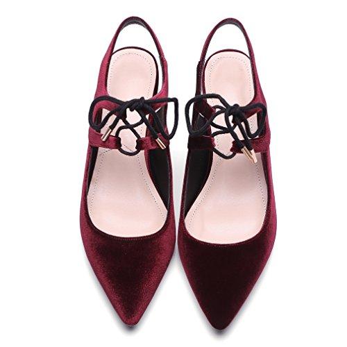 ENMAYER Femmes Nubuck Matériel Sandales Pointed-Toe Square Heels Ladies Dress Shoes Vin Rouge