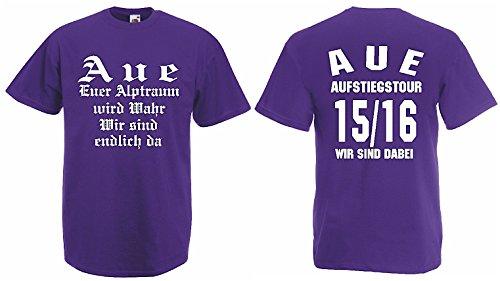 Fruit of the Loom AUE Aufstiegs-Tour T-Shirt von S-XXXL Austeiger 2015/16|lila-XL