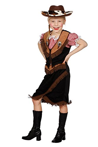Jannes - Kinder Cowboy Kostüm , Weste mit Rock, Braun Schwarz 140