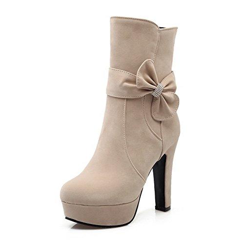 AllhqFashion Damen Hoher Absatz Reißverschluss Rund Zehe Reißverschluss Stiefel, Cremefarben, 39