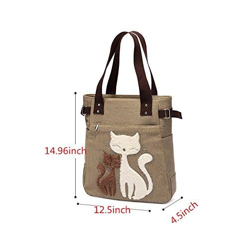 Frauen Segeltuch Handtaschen Wannen Beutel Karikatur Katze Große Einkaufstasche Schulter Beutel (Lila) Schwarz