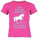 Pferde Kinder T-Shirt Zum Reiten geboren zur Schule gezwungen Pferde-Motiv Mädchen Pferd Sprüche Shirt Kids Horse Kindershirt Pferdemotiv
