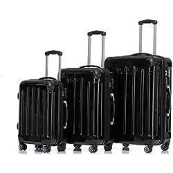 BEIBYE Zwillingsrollen 2048 Hartschale Trolley Koffer Reisekoffer in M-L-XL-Set in 17 Farben (Schwarz, SET)