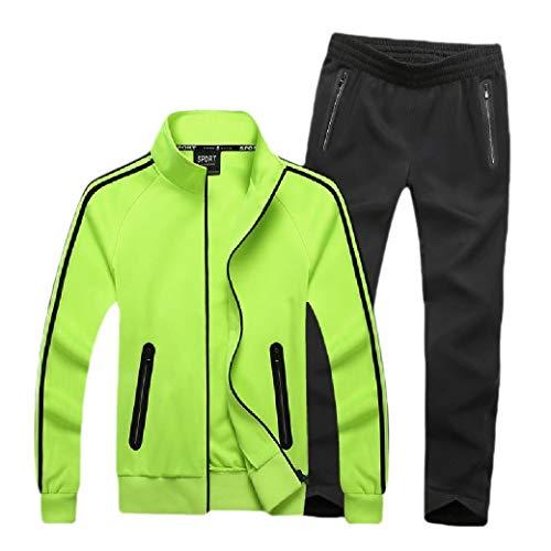 CuteRose Mens Basic Style Zip Pocket Oversized Sports Jacket and Pants Set Green M (Cropped Green Pant Set)