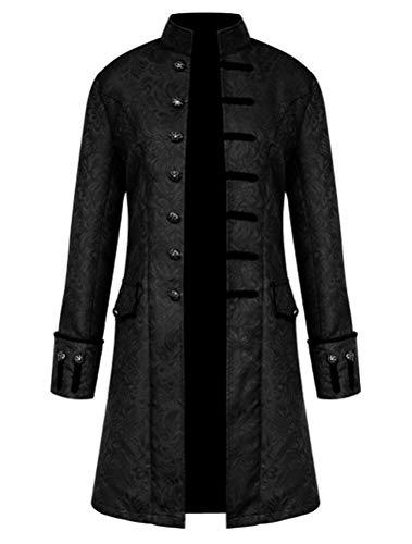 ROBO Herren Jacke Punk Langarm Gothic Retro Mantel Uniform Stehkragen Cosplay (Gothic Kostüm)