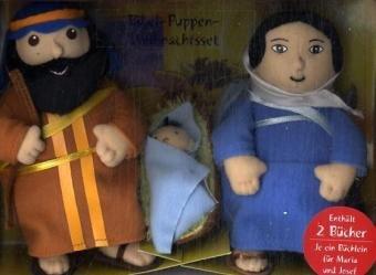 Bibel-Puppen Weihnachts-Set: Maria & Josef (mit je einem Büchlein), Jesus in Krippe