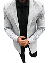 WQ&EnergyMen Men's Long Sleeve Gentleman Solid Colored Notch Lapel Trench Coat