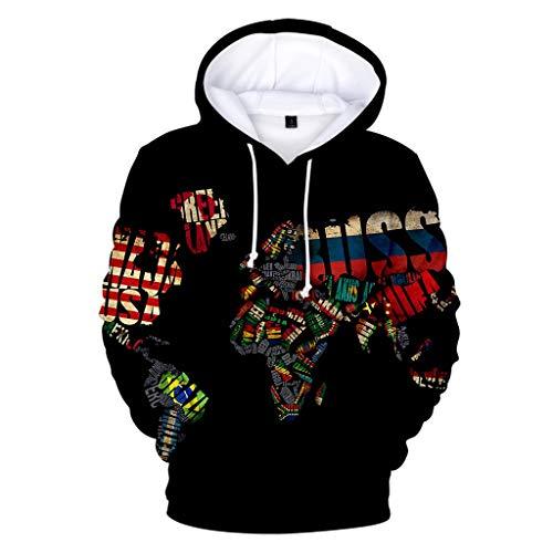 Unisex 3D Druck Hoodie Kapuzenpullover Langarm Sweatshirt Kapuzenjacke Mit Taschen ◆Elecenty◆ Hoodies Sweatershirt Tops Runde Krawatte Cap Sweater 3D Map -