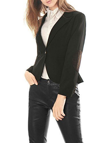Allegra K Allegra K Femme Pointu Revers un seul bouton coude-Patch Blazer Noir