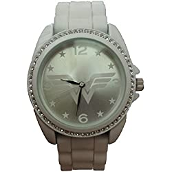 Wonder Woman WOW9034 - Reloj de Pulsera con Bisel de Diamantes de imitación, Color Blanco