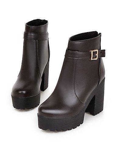 ShangYi Mode Frauen Schuhe Damenschuhe Faux Ferse, Zehen/Geschlossene Zehe Stiefel Outdoor Braun