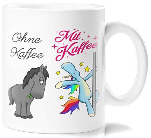 Lustig Bedruckte Tasse mit knuffigem Einhorn und Pferdmotiv und Spruch Mit Kaffee! und ohne Kaffee!. Die perfekte Kaffeetasse zum Frühstück oder in der Kaffeepause -
