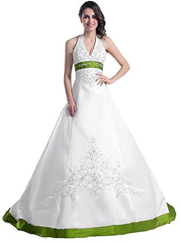 Edaier Frauen Perlen Halfter bestickt Satin Kleid Vintage Braut Brautkleid Größe 60 Beige Grün