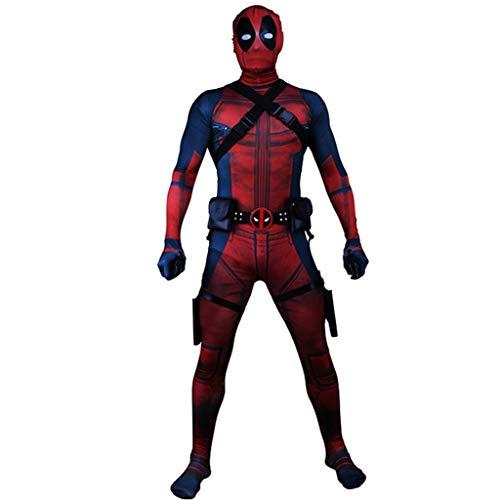 Kleinkind Spiderman Deluxe Kostüm - K-Flame Avengers Marvel Deadpool Jumpsuit Kostüm für Erwachsene Halloween Cosplay Requisiten 3D Prin Kleidung für Weihnachten,Rot,XXL