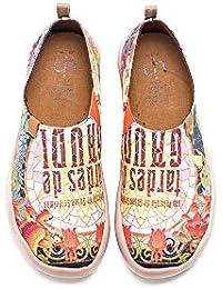 UIN Tardes de Gaudi Imprimio Zapatos de Lona para Mujer,Mocasínes Cómodos de Las Señoras