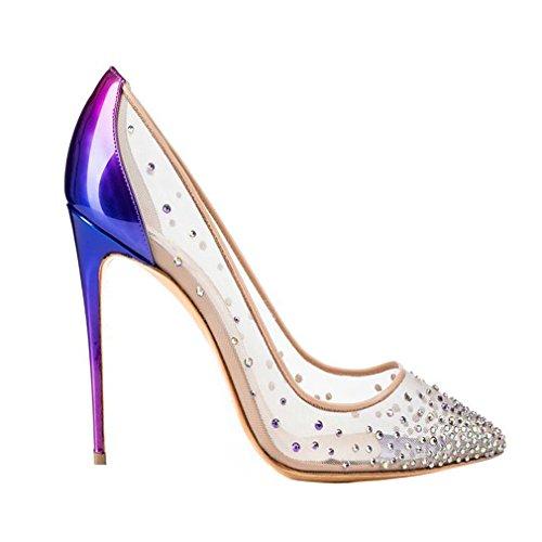 ENMAYER Femmes Matériel PU Slip-on Talons hauts Chaussures pour femme Pointe Toe Party Wedding Pumps Shallow Shoes Bleu violet