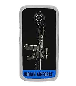 ifasho Designer Back Case Cover for Motorola Moto E :: Motorola Moto E XT1021 :: Motorola Moto E Dual SIM :: Motorola Moto E Dual SIM XT1022 :: Motorola Moto E Dual TV XT1025 (Air Forces Hindustan Ak 47 Gun )